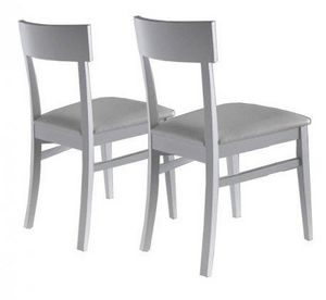 WHITE LABEL - lot de 2 chaises new age blanches - Chaise