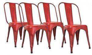 WHITE LABEL - lot de 4 chaises design aix rot en acier rouge - Chaise