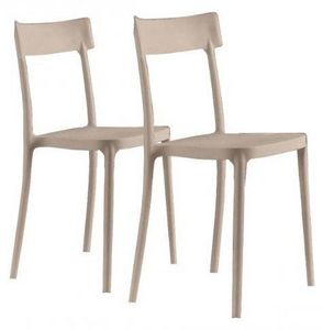 WHITE LABEL - lot de 2 chaises corsocomo empilables sables - Chaise