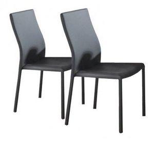 WHITE LABEL - lot de 2 chaises design hellen en simili cuir gris - Chaise
