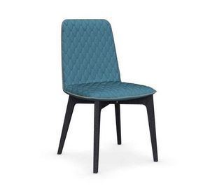 Calligaris - chaise sami en hêtre teinté graphite et tissu coul - Chaise