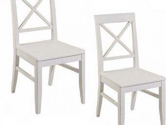 WHITE LABEL - lot de 2 chaises eva en bois blanc style charme co - Chaise