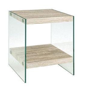 WHITE LABEL - table basse nina en verre et ch�ne clair - Table D'appoint