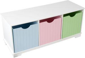KidKraft - banc de rangement en bois avec tiroirs pastels 99x - Meuble De Rangement Bas Enfant