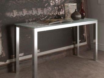WHITE LABEL - console extensible atelier en verre et acier, 140  - Console