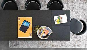 Calligaris - table repas extensible sigma xl 180x100 en bois co - Table De Repas Rectangulaire