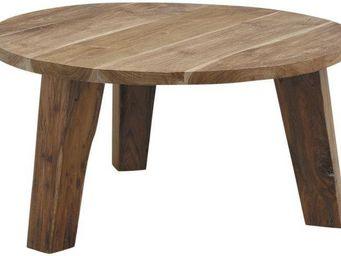 Aubry-Gaspard - table ronde en teck - Table Basse Ronde