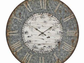 Interior's - horloge bois façon zinc pliable gm - Horloge Murale