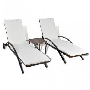 WHITE LABEL - lot de 2 transats de jardin marron + table - Chaise Longue De Jardin