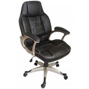 WHITE LABEL - fauteuil de bureau cuir noir classique - Fauteuil De Bureau
