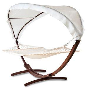 WHITE LABEL - hamac en bois avec toit 2 personnes - Hamac