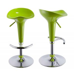 WHITE LABEL - lot de 2 tabourets de bar vert - Tabouret De Bar