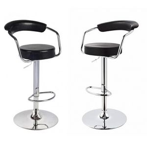 WHITE LABEL - lot de 2 tabourets de bar en cuir pu noir - Chaise Haute De Bar