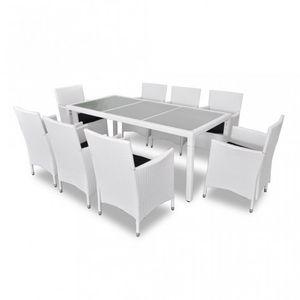 WHITE LABEL - salon de jardin avec table + 8 chaises - Salle À Manger De Jardin