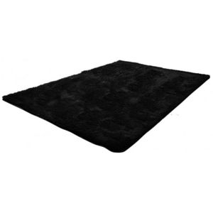 WHITE LABEL - tapis salon noir poil long taille xl - Tapis Contemporain