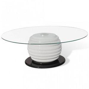 WHITE LABEL - table basse design blanche et noir verre - Table Basse Ronde