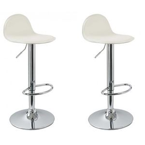 WHITE LABEL - lot de 2 tabourets de bar crème - Chaise Haute De Bar
