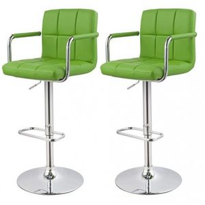 WHITE LABEL - lot de 2 tabourets de bar vert - Chaise Haute De Bar