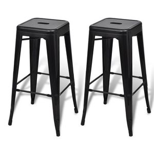 WHITE LABEL - lot de 2 tabourets de bar factory noir - Tabouret De Bar