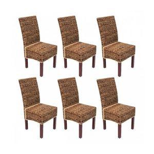 WHITE LABEL - lot de 6 chaises rotin banane tressée - Chaise