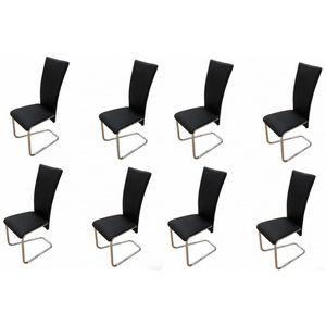 WHITE LABEL - 8 chaises de salle a manger noires - Chaise