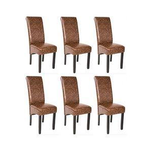 WHITE LABEL - 6 chaises de salle à manger marron - Chaise