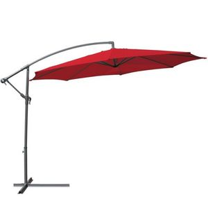WHITE LABEL - parasol d�port� de 3,5 m rouge + housse - Parasol Excentr�