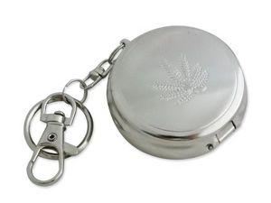 WHITE LABEL - cendrier rond de voyage en métal motif feuille de  - Cendrier