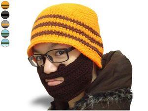 WHITE LABEL - drôle de bonnet à barbe rayé noir et gris foncé, b - Bonnet