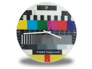 WHITE LABEL - horloge murale à thème mire télévision deco maison - Horloge Murale