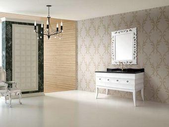 UsiRama.com - meuble salle de bain luxe baroque laqué blanc 1.2m - Meuble Vasque