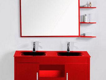 UsiRama.com - meuble salle de bain double vasques gerrier rouge - Meuble Vasque