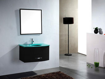 UsiRama.com - meuble salle de bain ecochic noir vasque en verre - Meuble Vasque
