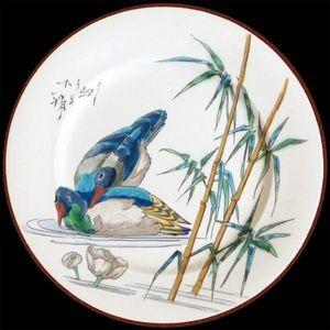 Au Bain Marie - assiette en tôle vieillard canard - Assiette Décorative