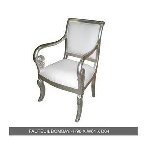 DECO PRIVE - fauteuil de style en bois argenté et simili blanc  - Fauteuil