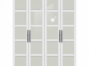 WHITE LABEL - dressing penderie zurich quatre portes � battant b - Armoire Dressing