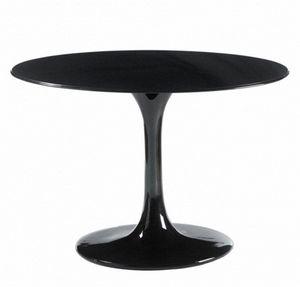WHITE LABEL - table ronde de repas design tulipe laquée noir 90  - Table De Repas Ronde