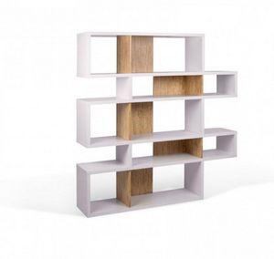 WHITE LABEL - temahome london bibliothèque design 5 niveaux blan - Bibliothèque