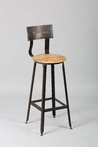 WHITE LABEL - chaise de bar olympe en acier vieilli - Chaise Haute De Bar