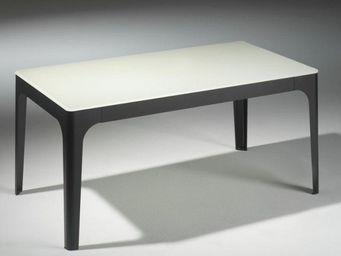 WHITE LABEL - table basse mila en verre blanc et piétement en ac - Table Basse Rectangulaire