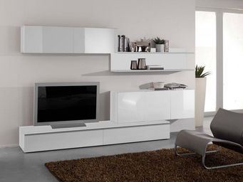 WHITE LABEL - composition murale tv design forte blanche - Meuble Tv Hi Fi