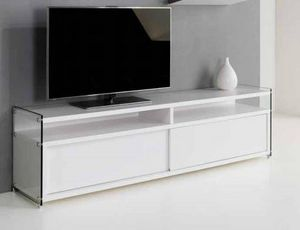 WHITE LABEL - meuble tv talac design blanc avec 2 portes couliss - Meuble Tv Hi Fi