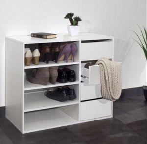 WHITE LABEL - meuble à chaussures mirage 4 tiroirs blanc - Meuble À Chaussures