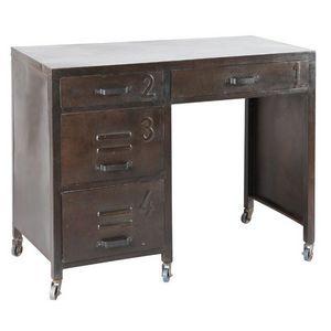 WHITE LABEL - bureau ferro en acier avec 4 tiroirs - Bureau