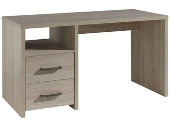 WHITE LABEL - bureau aline design 2 tiroirs chêne - Bureau