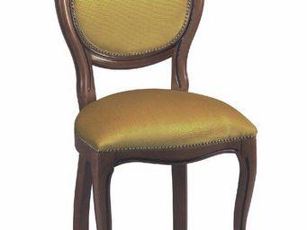 WHITE LABEL - chaise médaillon marus merisier et velours couleur - Chaise