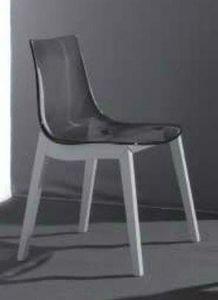 WHITE LABEL - chaise design orbital wood plexiglas fumé et hêtre - Chaise