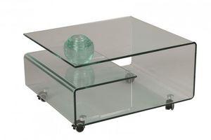 WHITE LABEL - table basse cristallin en verre - Table Basse Carrée
