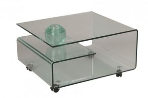 WHITE LABEL - table basse cristallin en verre - Table Basse Carrée