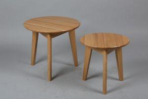 WHITE LABEL - lot de 2 tables basses rondes olga en chêne massif - Table Basse Ronde